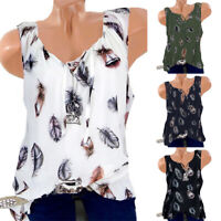 Womens Summer Loose Tops Tee Ladies Sleeveless Tank Top Casual Blouse T Shirts