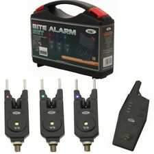 Wireless Bite Alarms x3  + Receiver NGT VS Carp Fishing Tackle + Box + Snag Ears