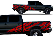 Custom Vinyl Decal SHRED Wrap for 4D Long Bed Toyota Tacoma TRD 05-15 Dark Red