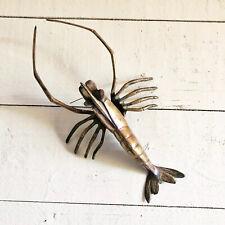 Vintage Large Brass Crawfish Lobster Decor Figurine Mid Century Nautical Decor