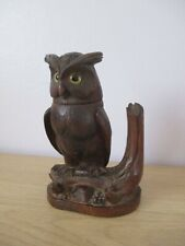 ANTIQUE BLACK FOREST OWL INKWELL SWISS WOOD CARVING