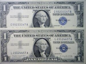 1957 CRISP CH AU CU x 2 Pcs Silver Certificate US $1 Currency NICE 2 Note LOT NR