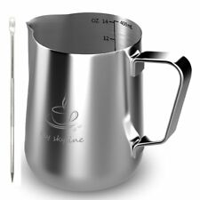 Milk Frothing Pitcher Stainless Steel Measurement [14 Ounces] milk cups-14/20OZ