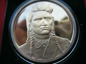 1.OZ CHIEF JOSEPH NEZ PERCE WALLOWA INDIAN TRIBAL NATIONS .925 SILVER COIN+GOLD