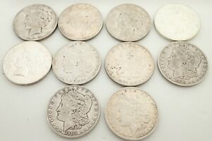 Lot of 10 90% Peace & Morgan Silver Dollars Coins