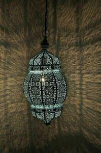 Blue Moroccan Turkish Lamp Hanging Ceiling Light Fixture Oriental Lantern Gift