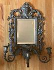 "Antique Victorian Gilt Bronze 3 Arm Figural Wall Sconce w/ Beveled Mirror - 20"""