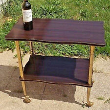 Rare Mid Century Modernist French 1950 Rolling Cart Bar Table Wood Gold Brass