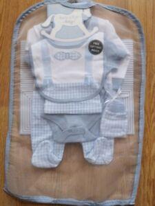 Baby Boy  Layette sleepsuit 5 piece set braces bow Tie  Rock a bye NB 0-3 3-6 m
