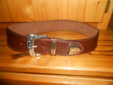 Leather Women's Hip Belt Doppia Vita Brown Embossed Ostrich Silver Plated