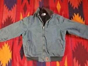 Mens Carhartt Sandstone Duck Santa Fe Green Quilt Flannel Lined J14 Sz Meduim