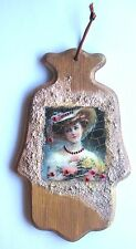 "JUDAICA 8"" X 5"" VINTAGE STYLE GIRL WITH A CRYSTAL GLASS  WALL HANGING WOOD HAMSA"
