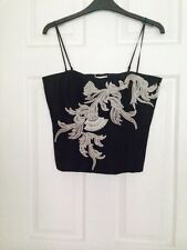 Karen Millen Noir/blanc jupe et bustier top Set Taille 12 RRP £ 220