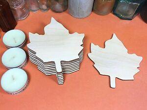 WOODEN LEAF Shapes 10cm (x10) laser cut wood cutout craft shape blanks