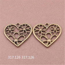 8X Antique Bronze flower heart Charm Pendant Beads Jewellery 28mmx28mm GU397