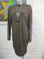 Sarah núcleo elegante elástico Vestido gr. 44-ltopasbraun, con pedrería, fruncido