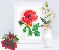 Red Poppy Watercolor original, botanical, flower, bouquet,  summer, garden, gift