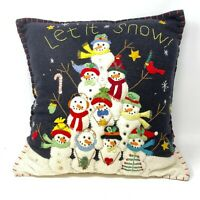 Vtg Hand Embroidered Stitched Beaded 3-Dimensional Snowman Tree Pillow 17″