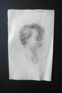 FRENCH NEOCLASSICAL SCHOOL 19thC - PORTRAIT JESUS AS A CHILD - CHARCOAL DRAWING