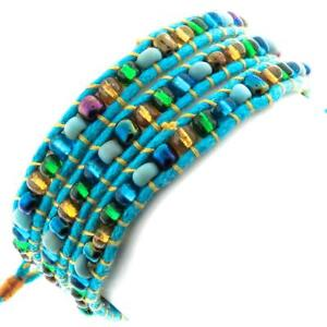 COOL TURQUOISE BLUE MIXED COLOR GLASS SEED BEADS WRAP bracelet OR anklet