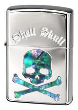 Zippo Skull Crossbones Shell Inlay Nickel Mirror Etching Japan Limited Rare Cool