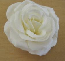 "3.5"" Cream White Satin Silk Rose Silk Flower Hair Clip,Wedding,Prom,Dance,Bridal"