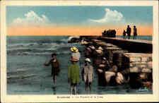 Gruissan Frankreich France ~1920/30 Rochers Jetee Pier Felsen Steg Kinder Meer