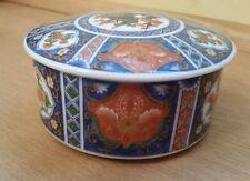Vintage Japanese jewelry trinket box ceramic blue red with lid flower design
