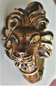 VINTAGE ESTATE  KJL KENNETH JAY LANE GOLD TONE BROWN ENAMEL LION BRACELET AS IS
