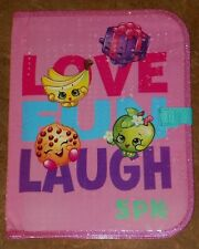 New SHOPKINS Love Fun Laugh FOLDER Pink PORTFOLIO With Closure School Supplies