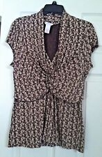 EUC! Woman's CANDIE'S Paisley gathered front blouse spandex size L brown SUMMER