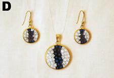 Murrina Venezia - Gold Murano Millefiori Glass Pendant 23mm/Earrings 14mm, Set D
