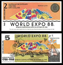 1988 WORLD EXPO SET OF 2 AUSTRALIAN BANK NOTES $2 & $5 - MINT UNCIRCULATED