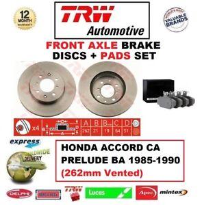 FOR HONDA ACCORD CA PRELUDE BA 1985-1990 FRONT AXLE BRAKE PADS + DISCS 262mm Dia