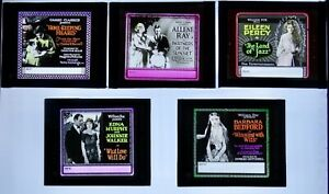 5 Glass Movie Slides - All Early 1920s