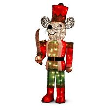 Majestic 5-Ft. Nutcracker Mouse Tinsel Pre LIt Christmas Yard Outdoor Sculpture