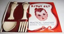 Vintage New Kiddy Set Spoon Fork Baby Doll White Plastic Original Package USA
