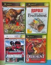 4 Games for Microsoft Xbox OG: Cabela's Hunt, Rapala Fishing, Paintball, Hunting