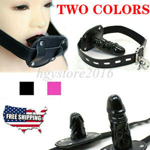 Leather Silicone Penis Mouth Gag Harness Couple Oral Stopper Restraint Insert