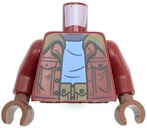 Lego New Dark Red Minifig Torso Jacket Dark Tan Collar Bright Light Blue Shirt