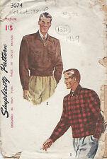 "1949 Vintage Näh Muster C38 "" -102cm Herren Jacke & Holz Jacke (1331)"