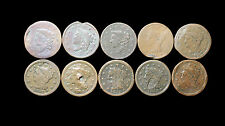 1833 2 1837 1840 1845 1846 1849 2 1851 1853  Lot of 10 Large Cents Coins