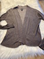 Eileen Fisher Taupe 100% Linen Lightweight Open Cardigan Sweater Size Medium