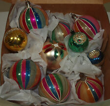 Vintage POLAND Glass Ornaments INDENT & ROUND Set of 10 Candy Stripe