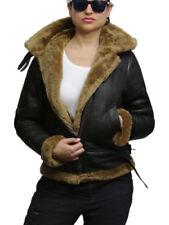 Manteaux et vestes motards marrons en cuir pour femme