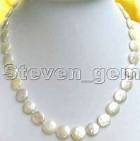"""SALE Big 13-14mm COIN Round Natural FreshWater WHITE PEARL 17"""" NECKLACE-nc5228"""