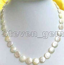 """SALE Big 13-14mm WHITE COIN Round natural freshwater pearl 17"""" NECKLACE-ne0201"""