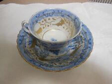 Old English Staffordshire Blue Willow Tea Cup Saucer Shallow Bowl Gold Accents