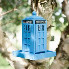 Novelty DR WHO Hanging Blue Police Box Bird Feeder Small Outdoor Garden Birds