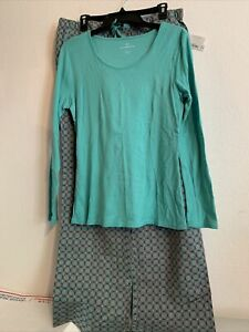 NWT Liz Claiborne Women's Pajama Set Sz L Turquoise/Gray Retail: $50 (MW-526)